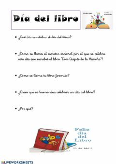 Interactive worksheet Día del libro