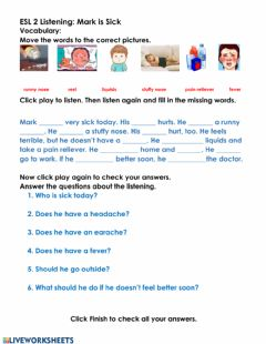 Interactive worksheet Listening:Mark is Sick