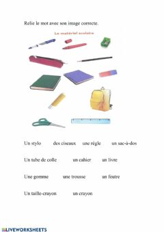 Interactive worksheet vocabulario frances 3º