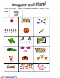 Ficha interactiva Singular and Plural Noun first grade