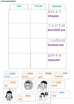 Interactive worksheet Japanese greetings