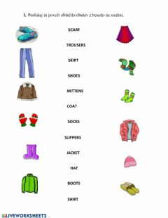 Interactive worksheet Clothes and home