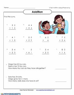 Interactive worksheet Addition without Regroupin