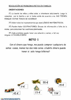 Interactive worksheet Reto matemático