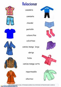 Interactive worksheet Vocabulario ropa-animales-colegio