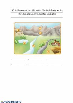 Interactive worksheet Inland landscape
