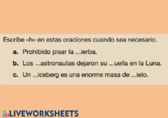 Interactive worksheet La letra H