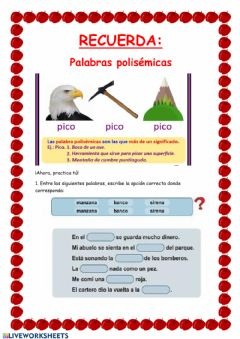 Interactive worksheet Palabras polisémicas II