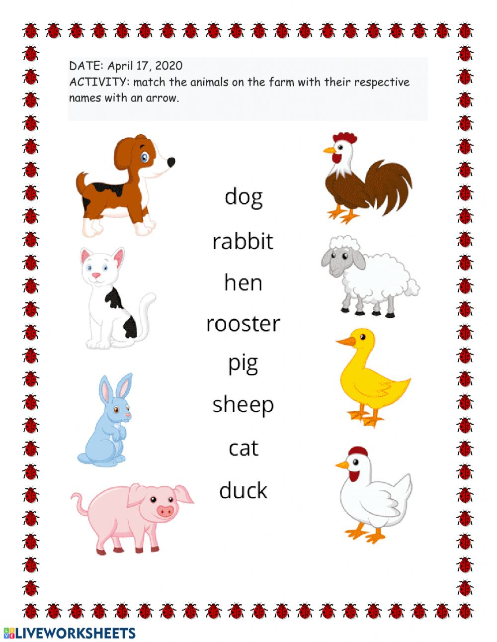Animales De La Granja Worksheet