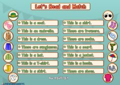 Ficha interactiva 4.8. My Clothes - Let's Read and Match