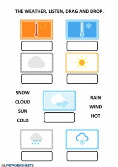 Interactive worksheet The weather. listen, drag and drop