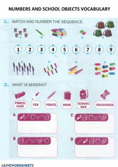 Interactive worksheet Numbers and school objects vocabulary