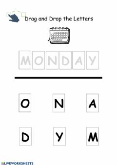 Interactive worksheet Monday Drag and Drop