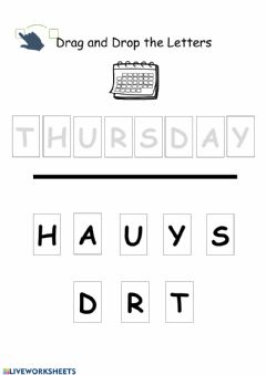 Interactive worksheet Thursday Drag and Drop