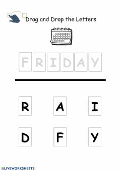 Interactive worksheet Friday Drag and drop