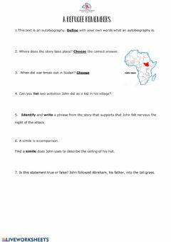 Interactive worksheet A Refugee Remembers
