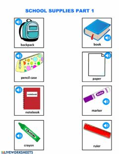 Ficha interactiva School sipplies flashcards pronunciation