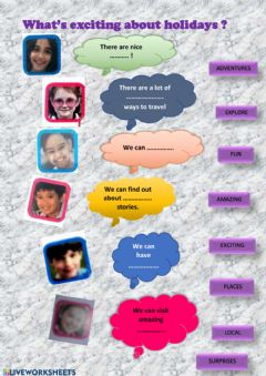 Interactive worksheet What's exciting about holidays?