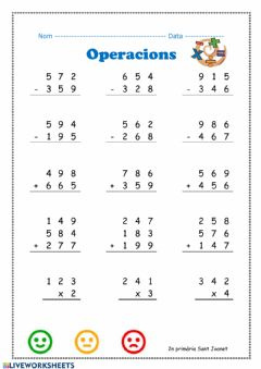 Interactive worksheet Operacions 1