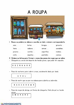 Interactive worksheet A roupa