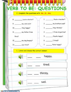 Interactive worksheet Verb to be Questions