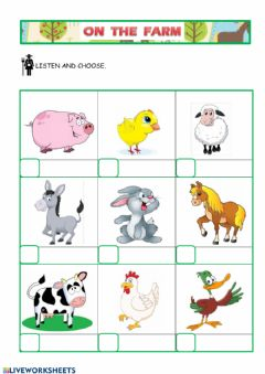 Interactive worksheet Farm animals 2