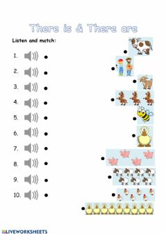 Interactive worksheet Listening - There is & There are (with farm animals)