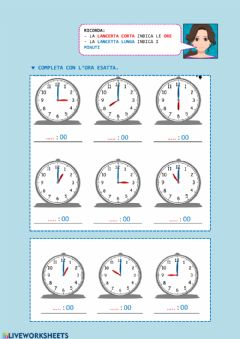 Interactive worksheet Orologio: le ore