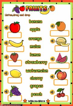 Interactive worksheet Fruits (Listen,drag,drop)