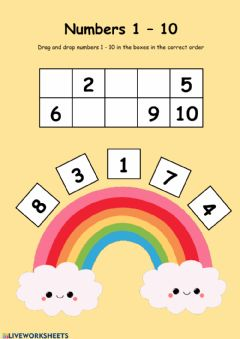 Interactive worksheet Fill Up The Missing Numbers 1-10 Rainbow