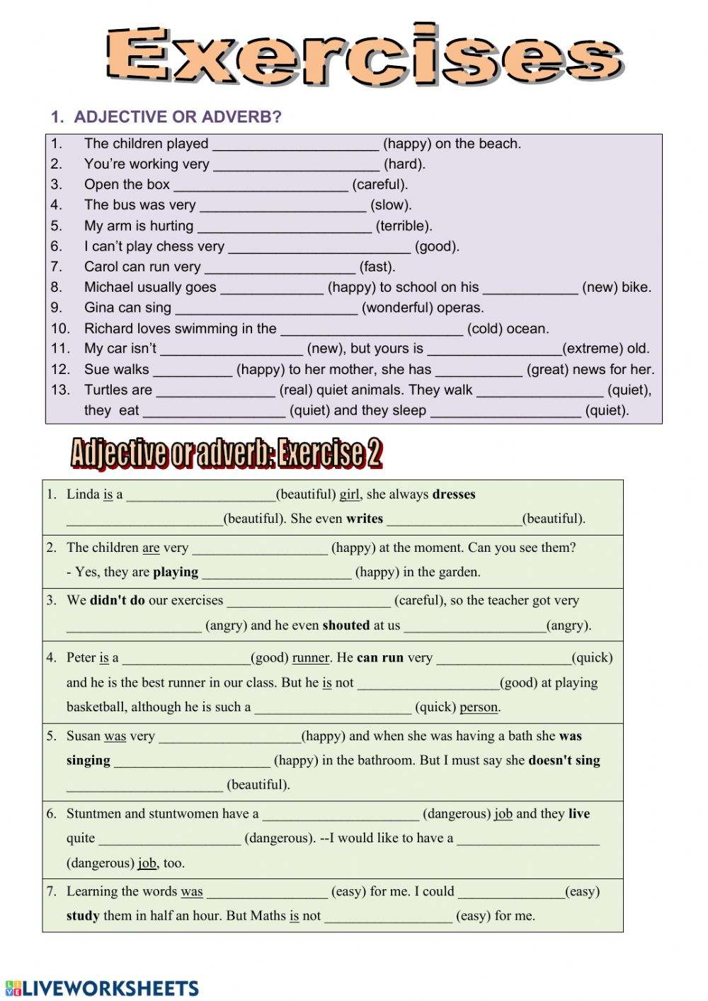 Adjective or Adverb 2 worksheet