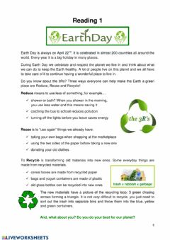Interactive worksheet Earth Day Reading