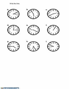 Interactive worksheet Write the time
