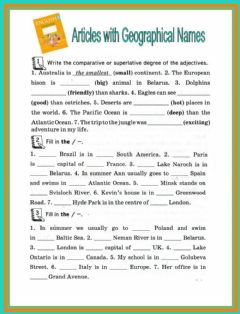 Interactive worksheet Articles with geographical names