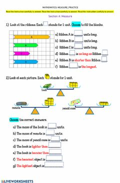 Interactive worksheet Worksheet 19 MEASURE-Practice