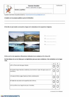 Interactive worksheet Conocemos las aguas