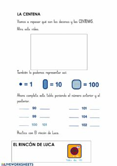 Interactive worksheet La centena