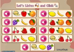 Interactive worksheet 2.9. Fruits - Let's Listen and Click