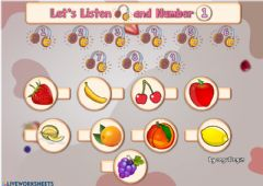 Interactive worksheet 2.9. Fruits - Let's Listen and Number