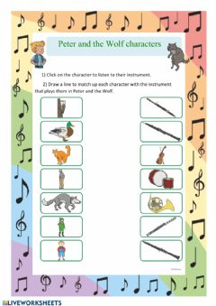 Ficha interactiva Peter and the wolf characters