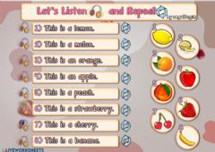Interactive worksheet 2.9. Fruits - Let's Listen and Repeat 2