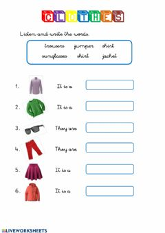 Interactive worksheet CLOTHES listen and write