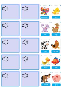 Interactive worksheet farm animals (listen and match)