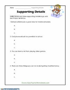 Interactive worksheet Supporting Details