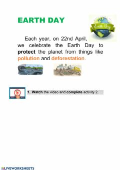 Ficha interactiva Earth day