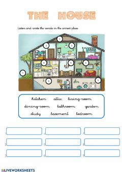 Interactive worksheet HOUSE Listen and write