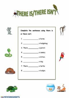 Interactive worksheet There is (pets)