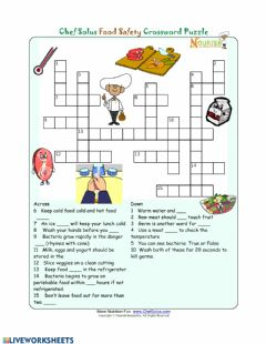 Interactive worksheet Food Safety Crossword