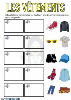 Interactive worksheet Les vêtements