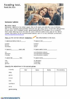 Interactive worksheet Reading and description